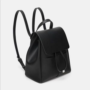 Zara Black Vegan Leather Backpack